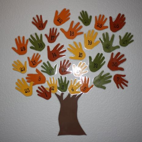 Thanksgiving numbered hand tree!  All family members included.  Each day say something you're thankful for...