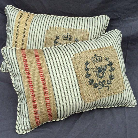 Back Ticking and Burlap Handmade Pillow by JuniperHillAntiques