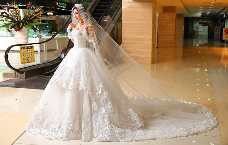 Cathedral Train Wedding Dresses vestido de noiva White Ivory Strapless Lace up Layers Bridal Dress Sequins Beads Long Appliques