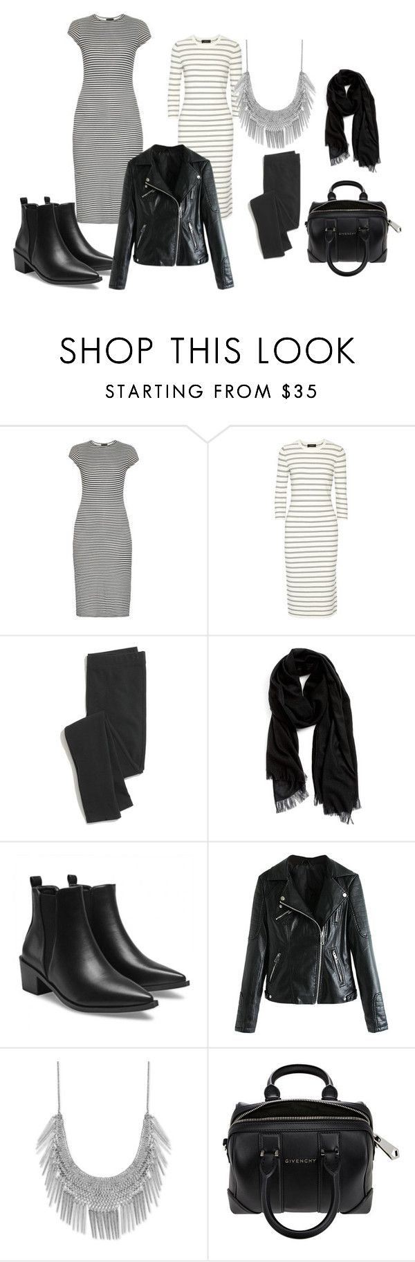 """striped dress in city"" by ve-safarova on Polyvore featuring ATM by Anthony Thomas Melillo, Theory, Madewell, Nordstrom, Lucky Brand, Givenchy, women's clothing, women, female and woman"