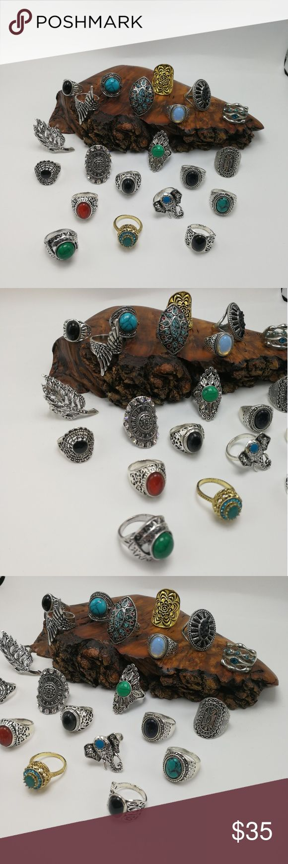 🎄🎅🎄 Bundle 20 rings PLUS Turquoise silver stone HUGE Bundle 20 Vintage Antiqued Tibet silver Gold rings. Mixed Metals. lead & Nickel free. You will receive ALL the items shown. NOT sold individually. Not sold in a smaller bundle size. NO exceptions. No holds or trades. Price is firm. Display is NFS. Bundle to SAVE. Great for Resale! Size:9/10 RB#259 PLUS SIZE Jewelry Rings