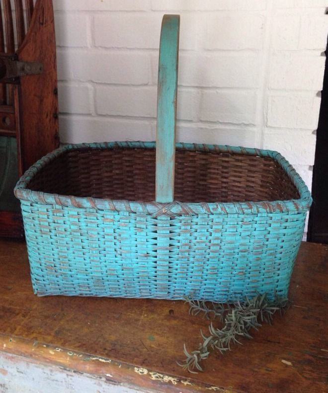 Goegeous Extra Large Antique Basket With Old Turquoise Milk Paint