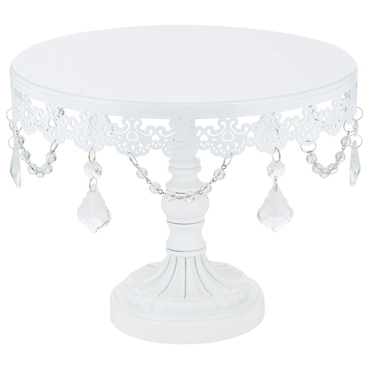 Amazon.com | Sophia Collection White 10 Inch Metal Cake Stand with Crystals, Round Wedding Birthday Dessert Cupcake Pedestal: Cake Stands
