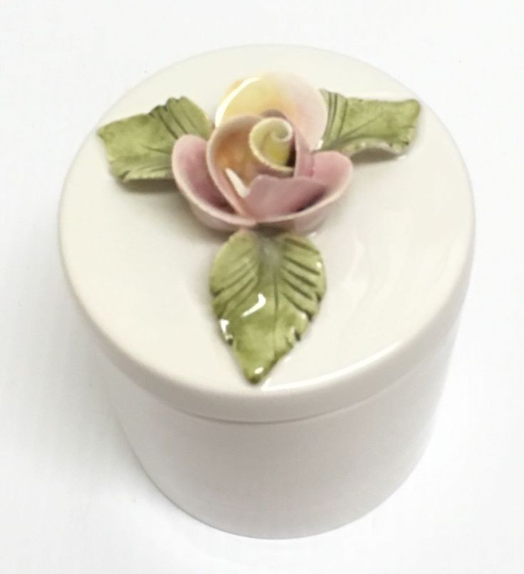 ❤ SHABBY COTTAGE CHIC CERAMIC PINK ROSE FLORAL FLOWER POSY BOUQUET TRINKET JAR ❤ #Victorian