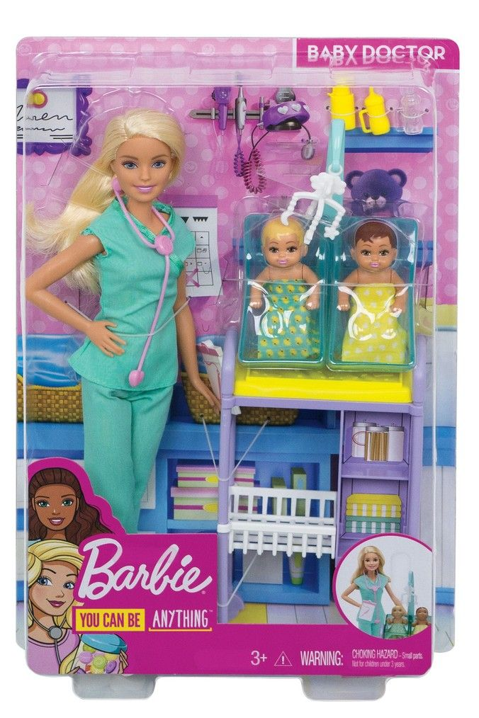 Barbie Doll Baby Doctor Playset With Two Patients Barbie Doll