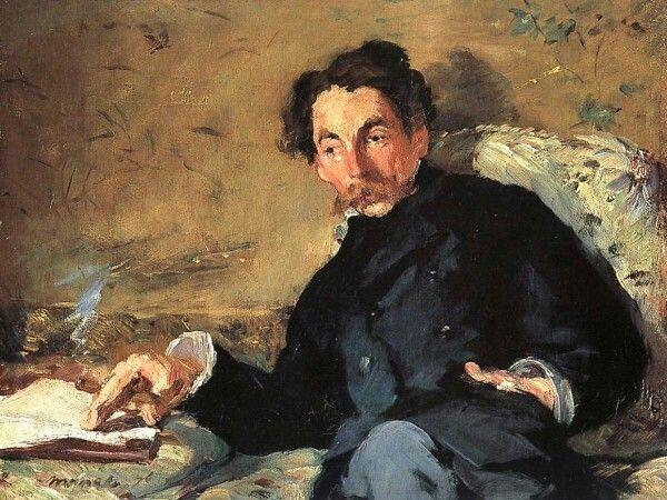 Edouard Manet, 1876, Portret van Stéphane Mallarmé, Musée D'orsay. Manet wist op jonge leeftijd, tegen de wens van zijn ouders, dat hij kunstenaar wilde worden. Deze eigenzinnigheid bleef zijn hele carrière terugkomen en ondanks dat hij een voorloper was in de overgang van Realisme naar Impressionisme maakte hij altijd zijn eigen keuzes. Zo schilderde hij graag in zijn atelier en bood zijn werk bij de traditionele Salons aan. Tegelijkertijd was hij bevriend met Monet en Renoir…