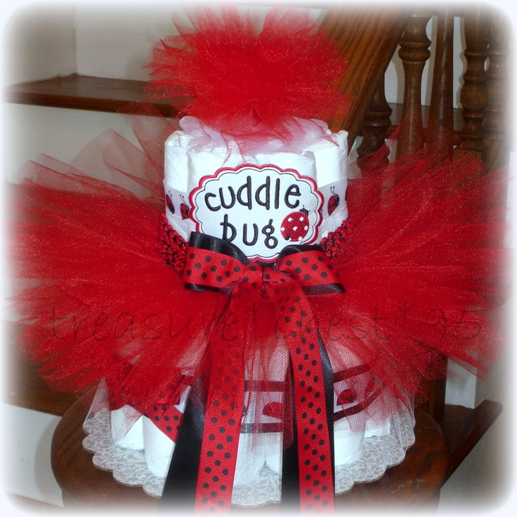 Ladybug Diaper Cake Baby Shower Centerpiece Decorations Gift Tulle Tutu Red And Black Polka Dot Girl Spring Lady Bug. $49.99, via Etsy.