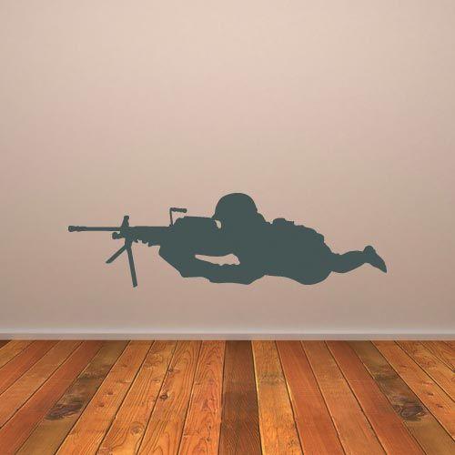 Snipper army soldier troop vinyl wall art decal sticker boys room decor PI064