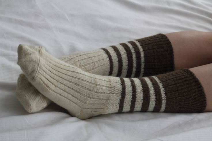 Hand Made Bed Socks NATURAL UNDYED  WOOL - Knee high  hand cranked and finshed - bedsocks - soft and silky natural colours by footfetishsocks on Etsy