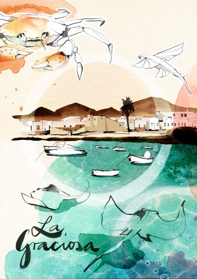#ONTHEDRAW | Lanzarote por Ekaterina Koroleva #ilustración #lanzarote
