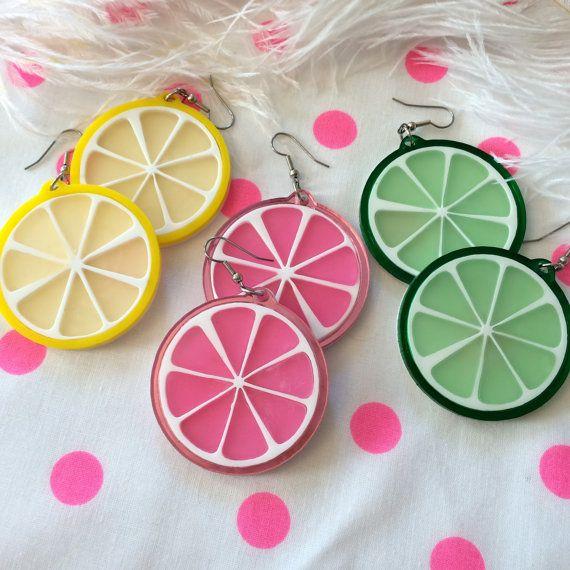 Fruit Slice Acrylic Laser Cut Earrings by imyourpresent on Etsy