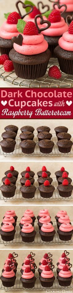 Dark Chocolate Cupcakes with Raspberry Buttercream Frosting - these are so decadently DELICIOUS! The ultimate Valentines Day cupcake! Love that the frosting is naturally pink and has a wonderful fresh raspberry flavor.