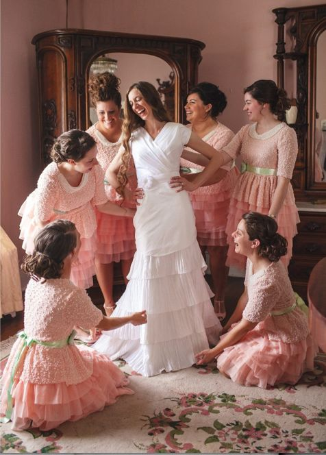"""described as """"Gorgeous Classy Modest Bridesmaid dresses"""".. Ummm, NO! These dresses are FUGLY!  Those poor girls.."""