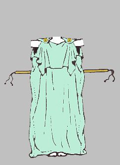 Peplos garment worn by Greek women made out of two rectangular pieces of cloth that were sewn together on both sides. This garment could be pulled over, the head and then it fastened over. The shoulders with two large pins that creates sleeves to, the dress and then a belt is also tied around the garment.