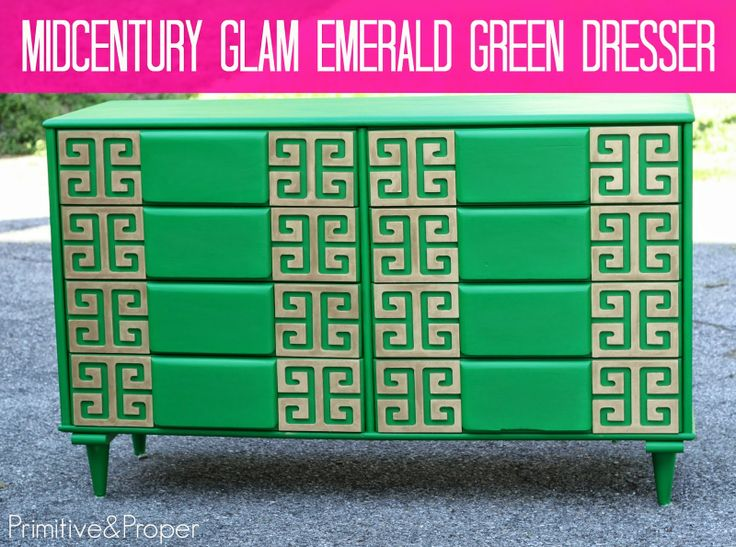 DIY trash to treasure midcentury emerald dresser with greek key overlays- you have got to see the before!