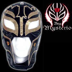 REY MYSTERIO (BLACK & GOLD MASK) - WWE KID SIZED REPLICA WRESTLING MASK by WWE. $51.99. Officially Licensed WWE Wrestling Merchandise!. Made directly from Rey Mysterio's own mask!. Fits kids ages 8 and up!. Rey Mysterio WWE Kid Size Replica Wrestling Mask! Officially Licensed by WWE. Made directly from Rey Mysterio's own mask. Fits kids ages 8 and up.. Save 26% Off!