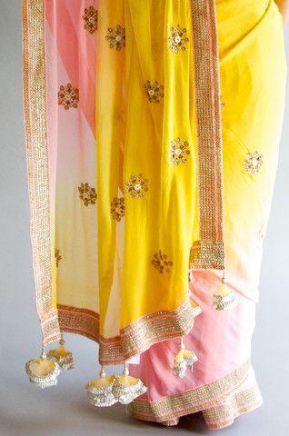 Neon Yellow/Pink Chiffon