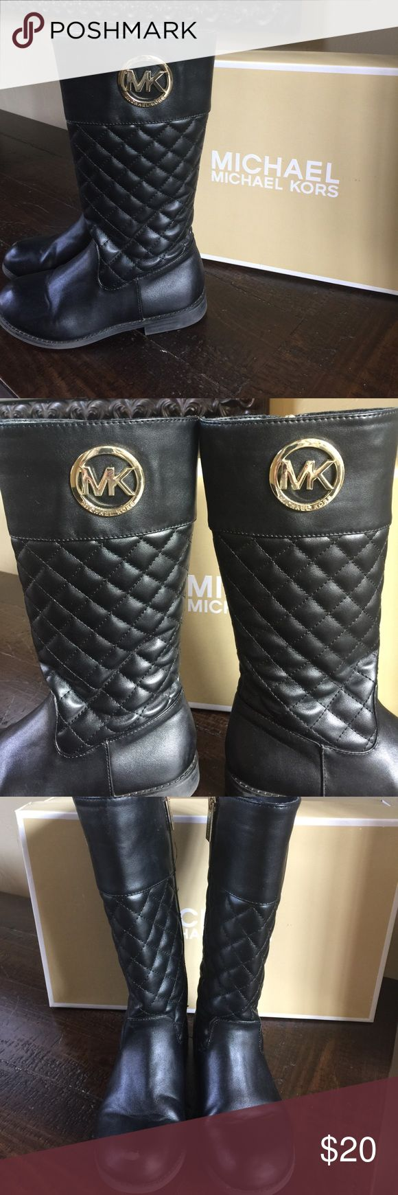 """Micheal Kors girls black """"Emma"""" quilted tall boots Girls """"Emma Lux"""" tall quilted boots. Excellent condition with the exception of a scuff in toe of right boot. Can easily cover with shoe polish. See photo. Gold MK on side and gold zip. Price is firm. Comes with box. Michael Kors Shoes Boots"""