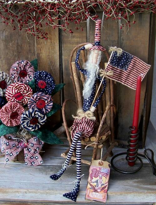 Primitive Americana Skinny Uncle Sam & USA Flag Matching Americana YoYo Flowers Potted in Grapevine Watering Can