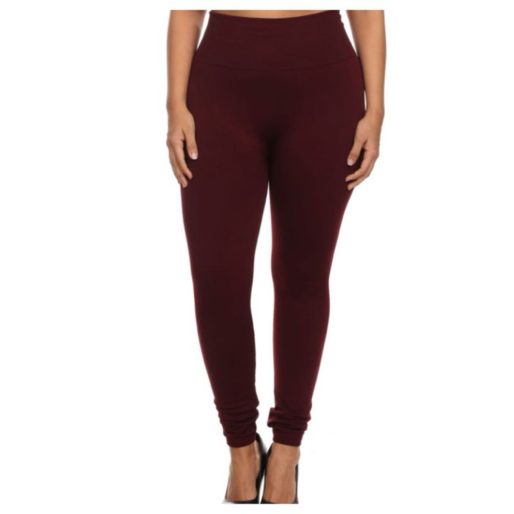 """Your New Favorites! Must Have """"Amazing"""" No Peek-a-Boo See Through PLUS Size Burgundy Leggings - Cheryl's Galore and More"""