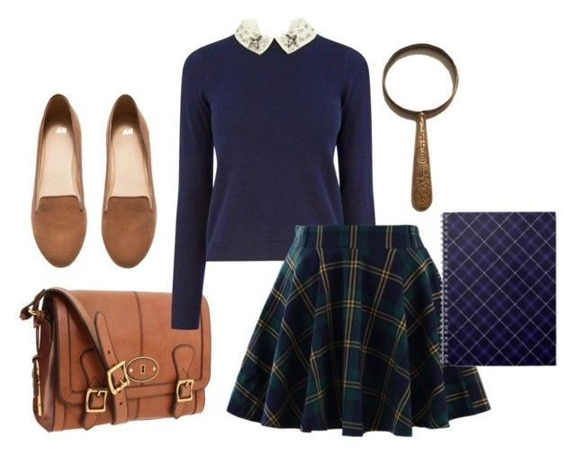 """Closet Costumes - Nancy Drew"" by crazyalygator ❤ liked on Polyvore featuring moda, FOSSIL, Oasis, Chicwish, H&M, Halloween, halloweencostume, Halloweenparty e Halloween2015"