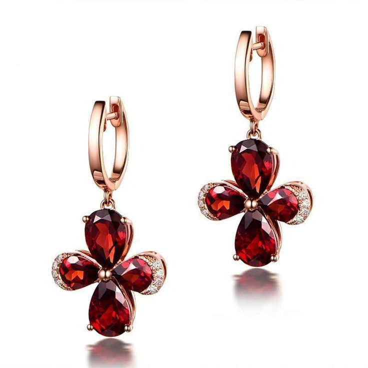 $369 Pear Red Garnet Diamond Earrings 14K Rose Gold 4x5mm/5x7mm Floral