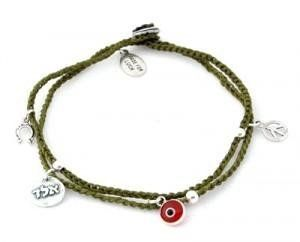 """Kabbalah Evil Eye Charm Braided Charms Anklet in Olive Green MIZZE Made for Luck Jewelry. $49.00. Evil Eye and Kabbalah Charms Anklet. The anklet is a standard size 11"""". All charms are 925 Sterling Silver. Beautiful Handmade wax wire anklet in olive green"""