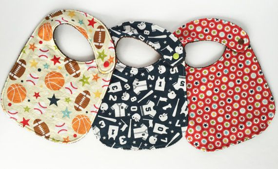 Baby Bib Set Set of 3 Play Ball Tan by SewCutiePieBoutique on Etsy