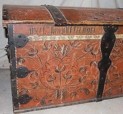 Early Antique Immigrant Norwegian Rosemaling 1830 Trunk Norway | eBay