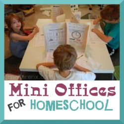 Making mini offices for homeschool learning.