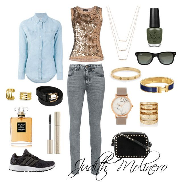 """""""Sequin Monday"""" by judith-molinero-fashion on Polyvore featuring Yves Saint Laurent, Twin-Set, adidas, ERTH, Cartier, Bling Jewelry, Hermès, CLUSE, Dries Van Noten and Valentino"""