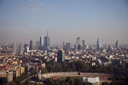 Milan's new skyline from Torre Branca