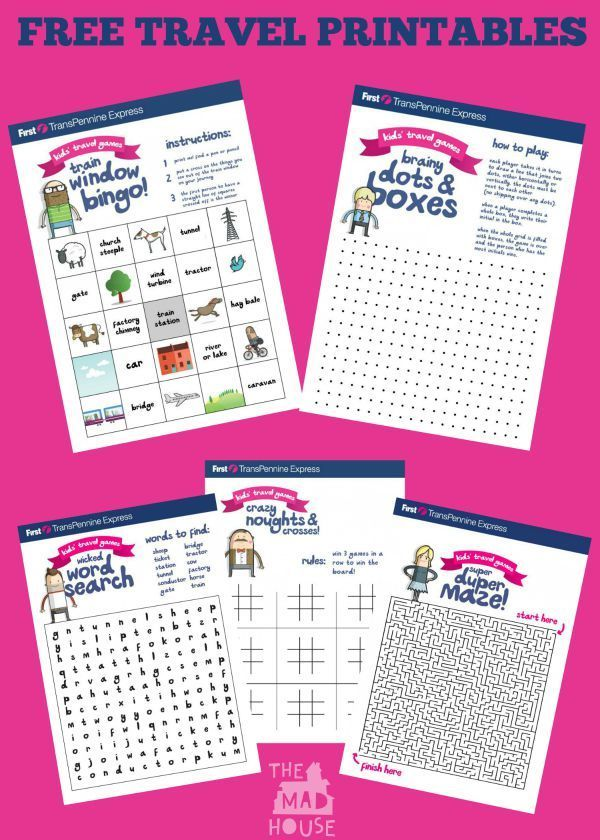 Free travel printables perfect for kids to use whilst on the train or in the car. Print off these five travel games and pop them in a clear folder or laminate them and use a dry wipe pen for regular travels.