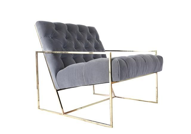 Thin Frame Lounge Chair from Lawson-Fenning, available in chrome, blackened steel, and polished or antiqued brass, with or without tufting.