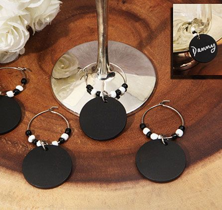 """Give these Chalkboard Wine Charms to your guests as a """"thank you"""" for being part of your special day."""