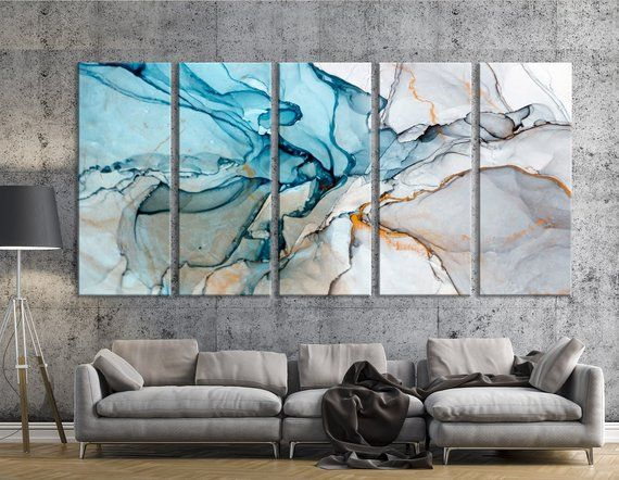 Large Marble Art Marble Canvas Print Beautiful Abstract Art Modern Wall Decor Large Canvas A Large Canvas Art Marble Art Blue Abstract Art