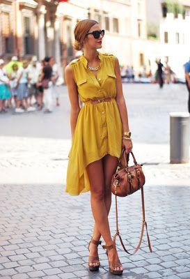 women fashion style clothing outfit yellow handbag sandals sunglasses necklace belt watch golden summer