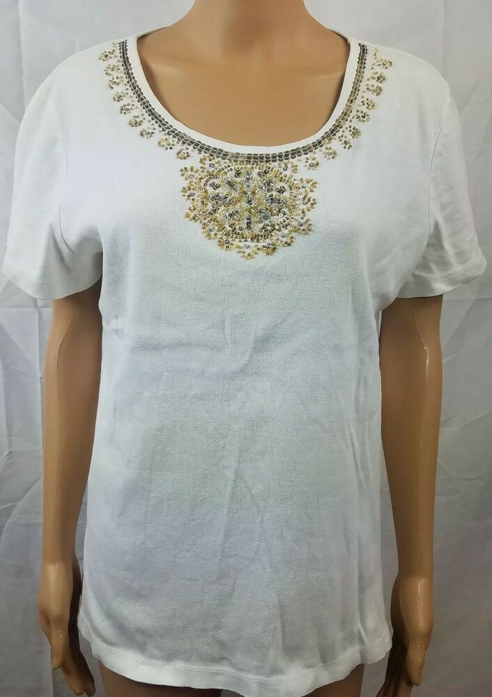 White Stag Womens T Shirt White Beaded Scoop Neck Short Sleeve Size L 12 14 Whitestag Tshirt Casual In 2020 T Shirts For Women Blouses For Women Shirts White