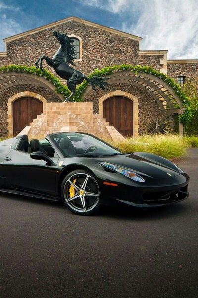 Black Ferrari with yellow calipers <3 http://www.pinterest.com/emmagangbar/following/
