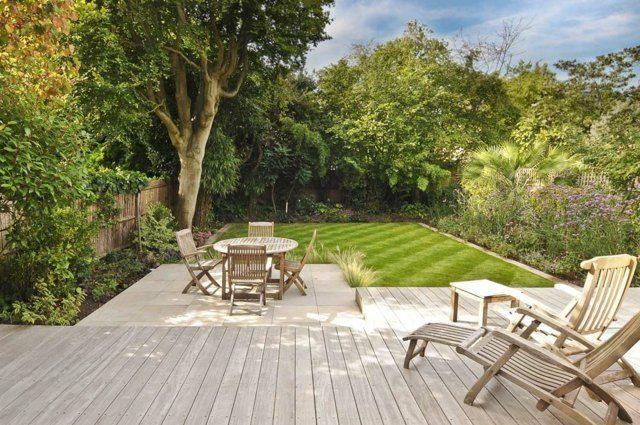 Gartengestaltung auf Ebene Holzboden Wiese
