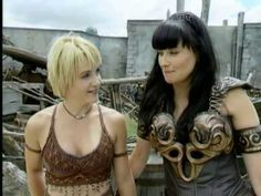 Xena - Behind the Scenes - Lucy Lawless and Renee O'Connor Lucy accent was strong back in the day..lol catch them on NETFLIX also purchase...Xena Warrior Princess......