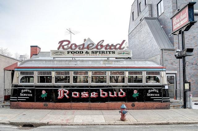 Davis Square, Somerville, Massachusetts~Rosebud Diner photo by dovetaildw, via Flickr