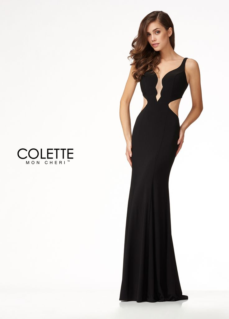 Colette for Mon Cheri CL18288 - Here is a simple jersey dress with a sweet twist: scalloped plunging neckline and side cut outs! Its form-fitting silhouette hugs the body down to the knee where it begins to gently flare out into a soft mermaid shape. The dress also features a stunning open back!