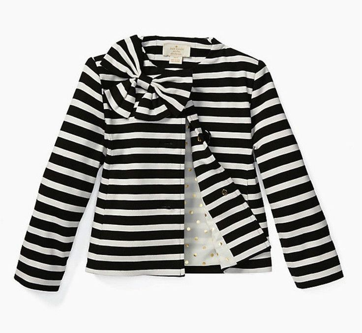 NWT KATE SPADE GIRLS Size 5Y Toddlers' Dorothy Black Cream Bow Striped Jacket | Clothing, Shoes & Accessories, Kids' Clothing, Shoes & Accs, Girls' Clothing (Sizes 4 & Up) | eBay!