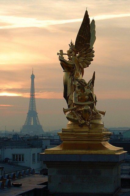 Eiffel Tower view from Opera Garnier's roof Paris