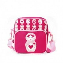 Your little girl will love this messenger bag!  Perfect for times when little ones need to take just a 'foo tings'. Whether it's a picnic lunch or a trip to the supermarket with their very own shoulder bag, they can be assured their goodies will be well protected.  Features:  Both compartments have sturdy zip closure Strong adjustable, detachable straps Without straps it could be a lunch box Fine, durable polyester canvas Scratch resistant coating for durability  Size: 22cm W x 24cm H x 11cm…