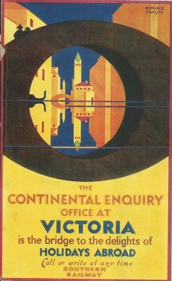 "original art deco print "" poster "" 1930s uk southern rai;way"