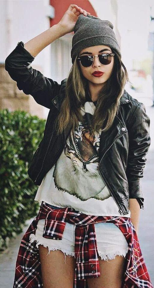 polo hat + tiger shirt + leather jacket or denim button up + shorts + plaid shirt around waist + converse