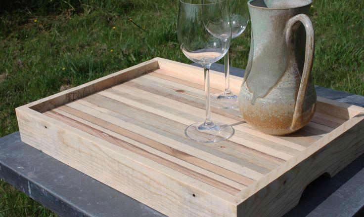 Plateau fait main en bois de r cup ration cuisine et tables for Plateau de cuisine en bois