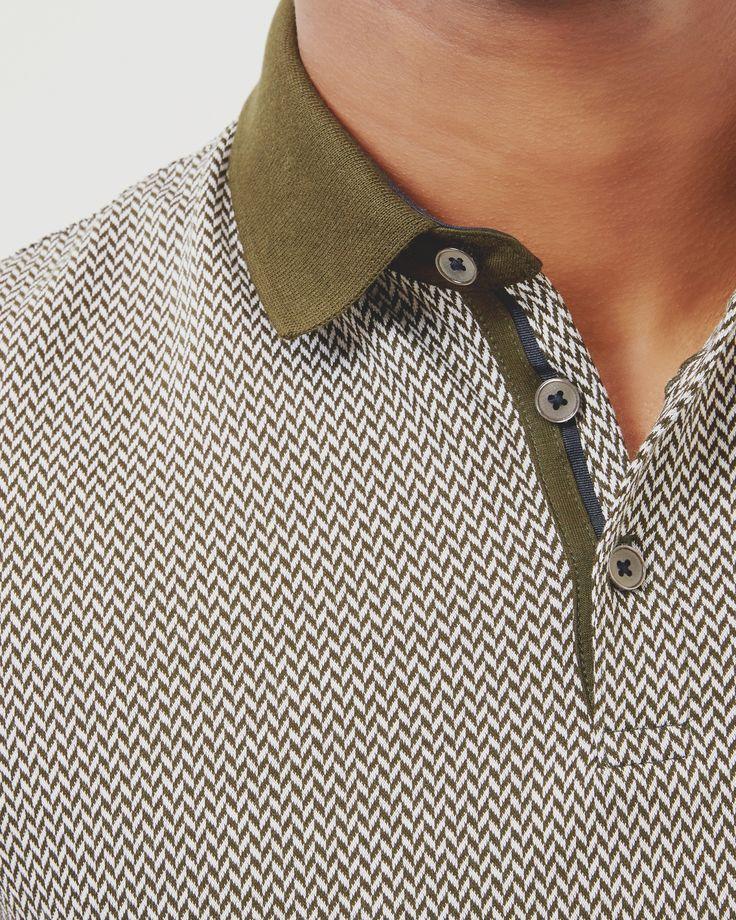 Herringbone jacquard polo shirt - Khaki | Tops & T-shirts | Ted Baker SEU